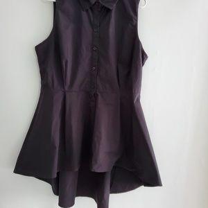 [NY&C] hi lo sleeveless button down shirt